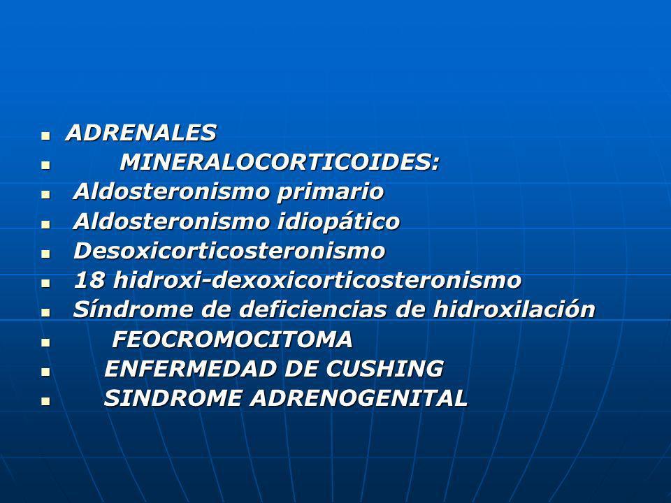 ADRENALESMINERALOCORTICOIDES: Aldosteronismo primario. Aldosteronismo idiopático. Desoxicorticosteronismo.