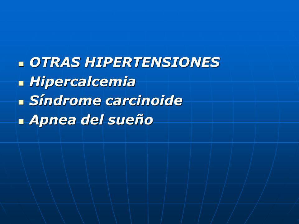 OTRAS HIPERTENSIONES Hipercalcemia Síndrome carcinoide Apnea del sueño