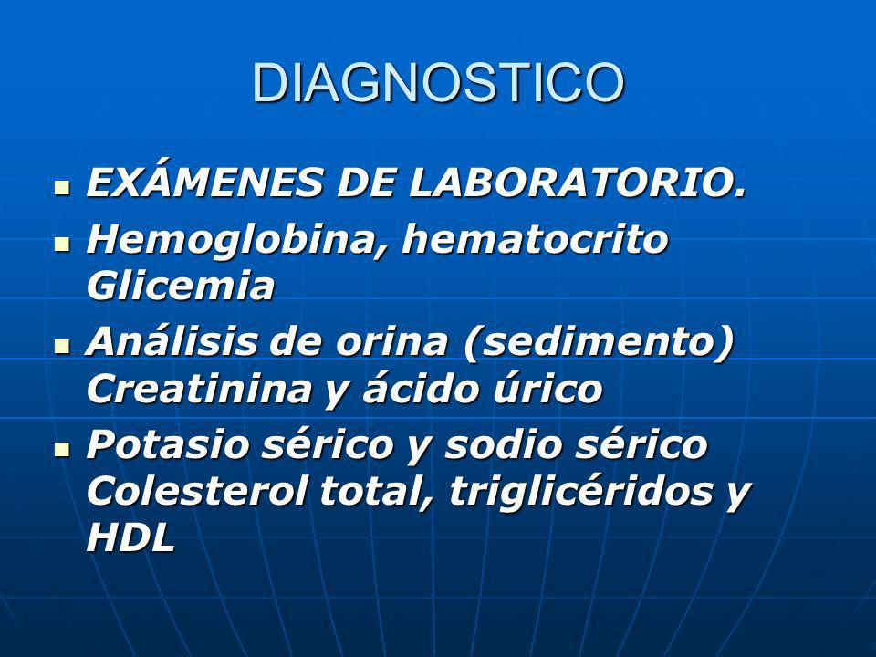 DIAGNOSTICO EXÁMENES DE LABORATORIO. Hemoglobina, hematocrito Glicemia