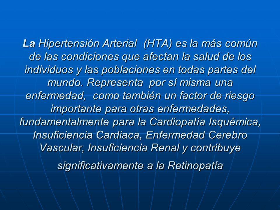 La Hipertensión Arterial (HTA) es la más común de las condiciones que afectan la salud de los individuos y las poblaciones en todas partes del mundo.