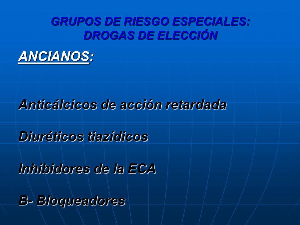 GRUPOS DE RIESGO ESPECIALES: DROGAS DE ELECCIÓN