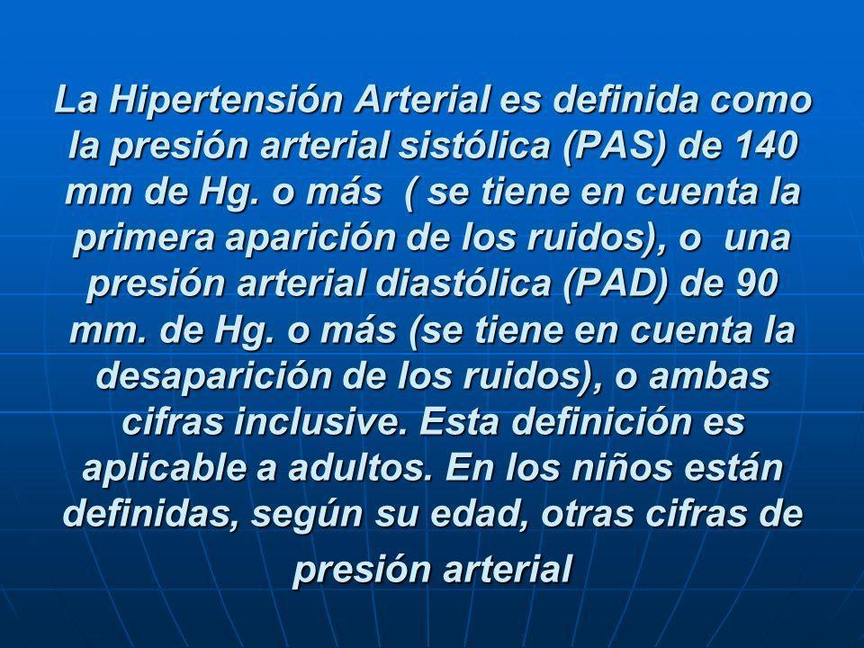 La Hipertensión Arterial es definida como la presión arterial sistólica (PAS) de 140 mm de Hg.