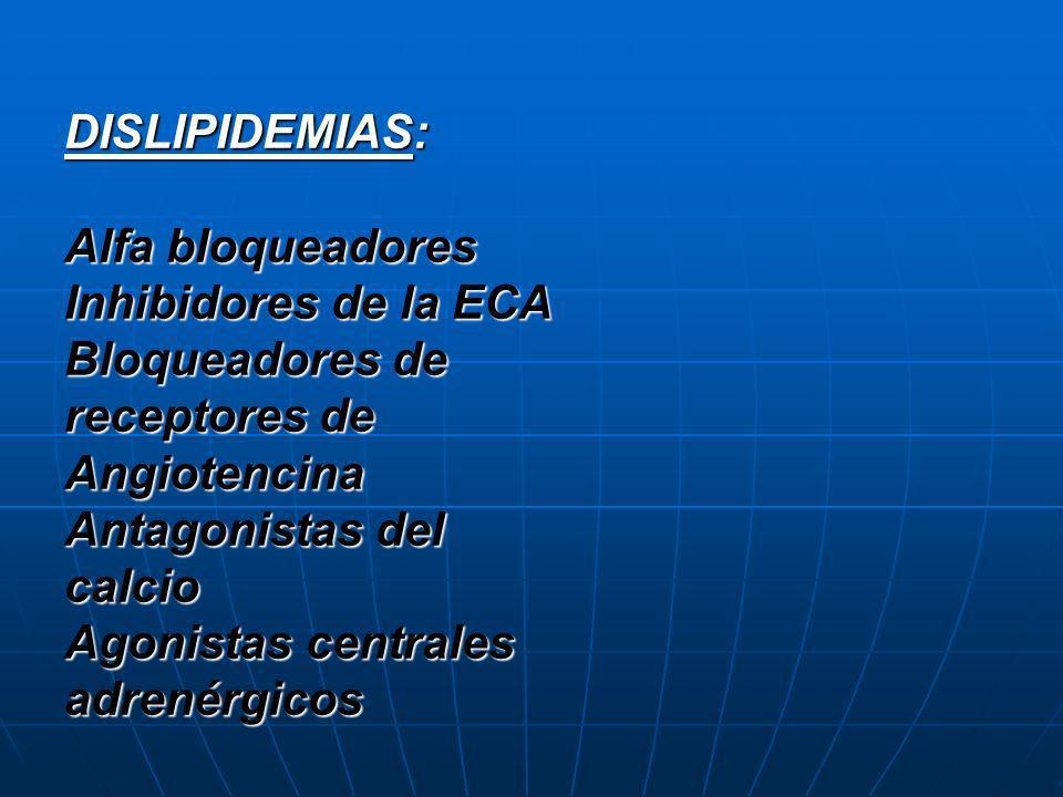 DISLIPIDEMIAS:Alfa bloqueadores. Inhibidores de la ECA. Bloqueadores de receptores de Angiotencina.