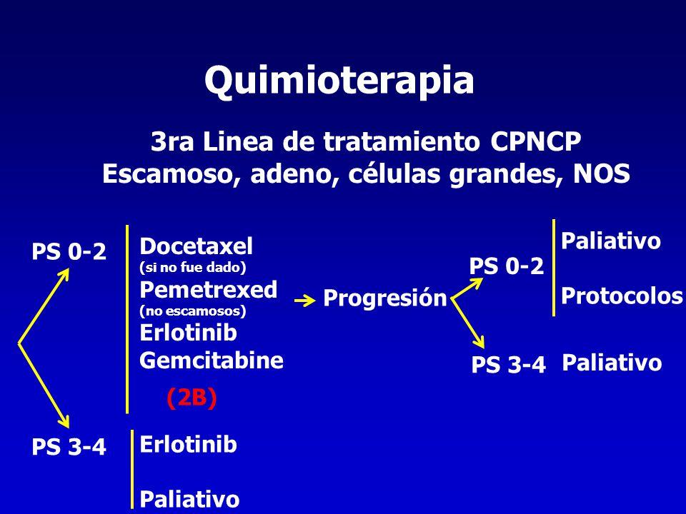 3ra Linea de tratamiento CPNCP Escamoso, adeno, células grandes, NOS