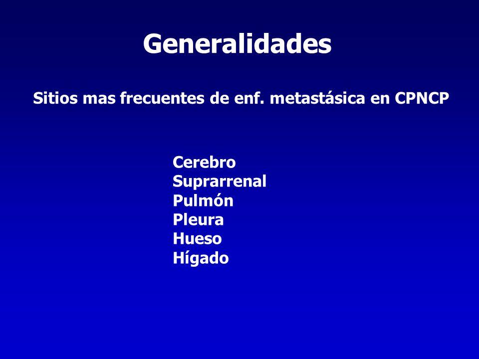 Generalidades Sitios mas frecuentes de enf. metastásica en CPNCP