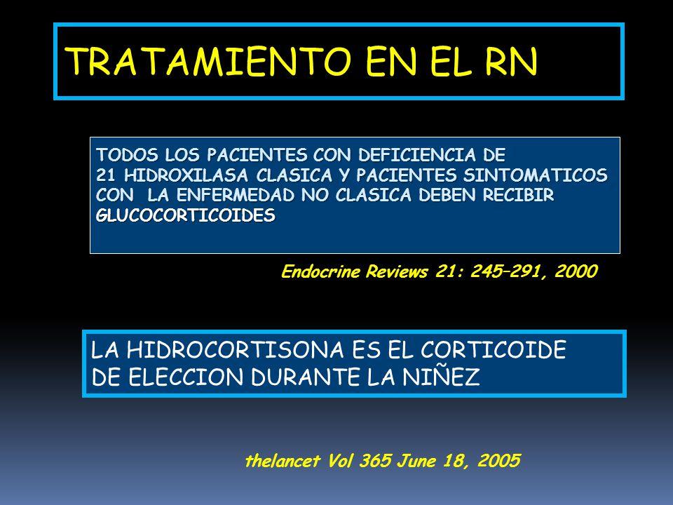 TRATAMIENTO EN EL RN LA HIDROCORTISONA ES EL CORTICOIDE