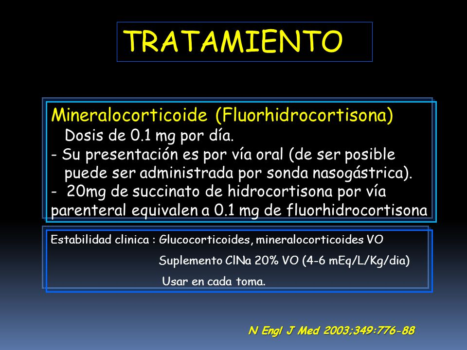 TRATAMIENTO Mineralocorticoide (Fluorhidrocortisona)
