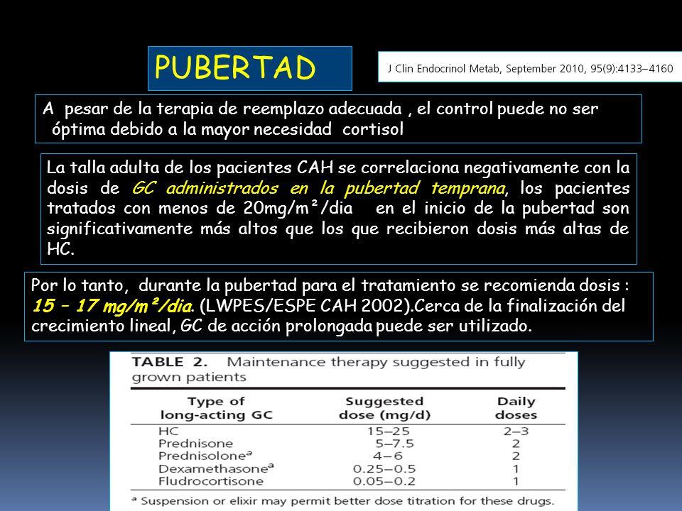 PUBERTAD A pesar de la terapia de reemplazo adecuada , el control puede no ser. óptima debido a la mayor necesidad cortisol.
