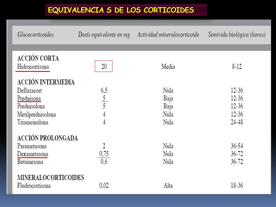 EQUIVALENCIA S DE LOS CORTICOIDES