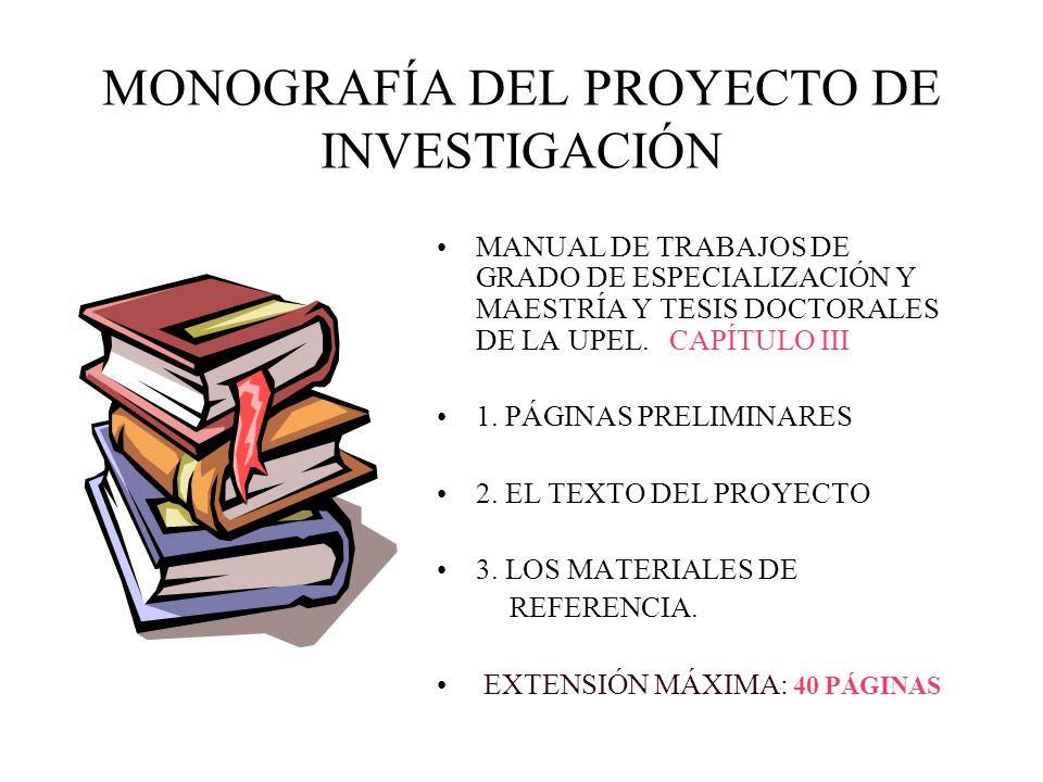 MONOGRAFÍA DEL PROYECTO DE INVESTIGACIÓN