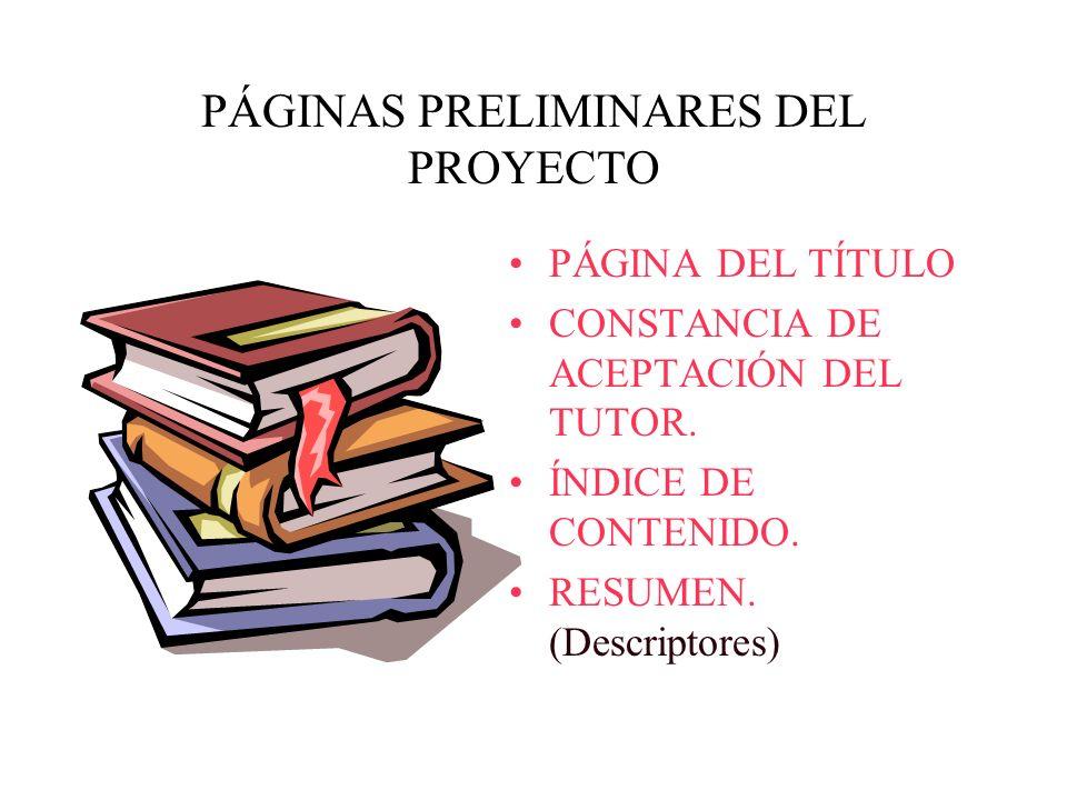 PÁGINAS PRELIMINARES DEL PROYECTO