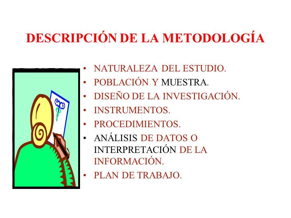 DESCRIPCIÓN DE LA METODOLOGÍA