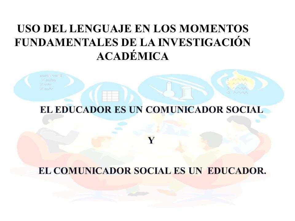 USO DEL LENGUAJE EN LOS MOMENTOS FUNDAMENTALES DE LA INVESTIGACIÓN ACADÉMICA