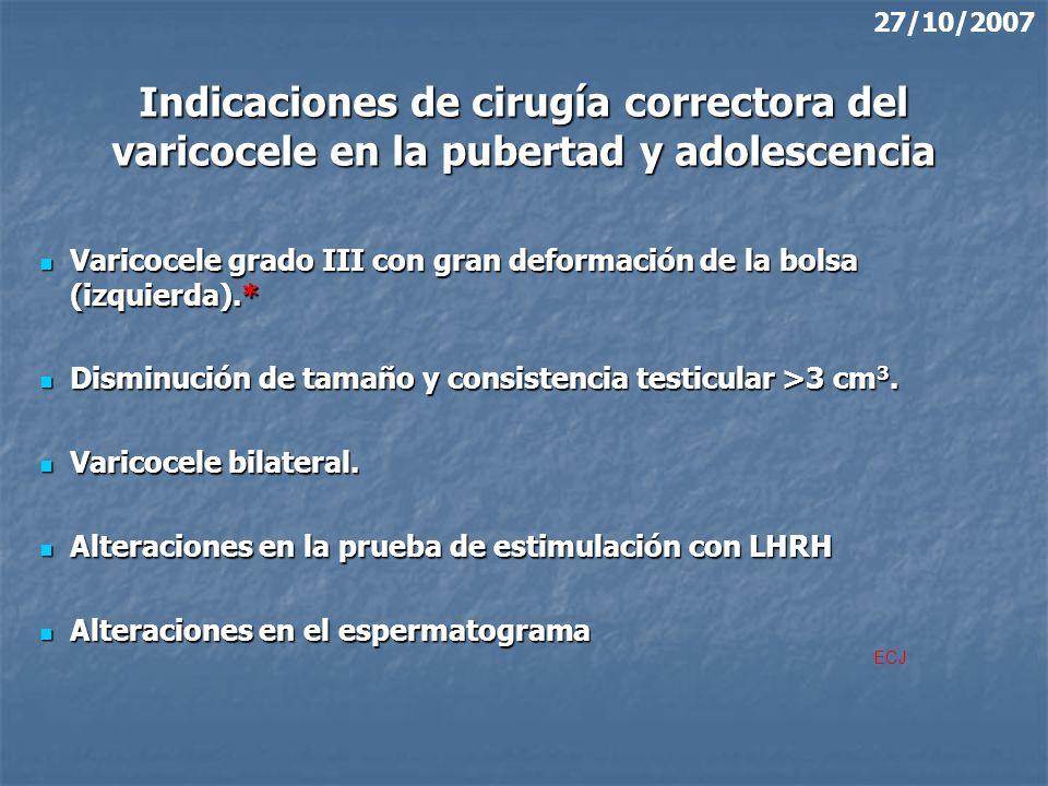 27/10/2007 Indicaciones de cirugía correctora del varicocele en la pubertad y adolescencia.