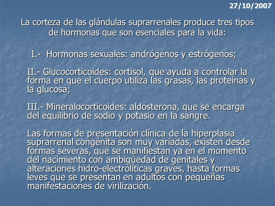 27/10/2007 La corteza de las glándulas suprarrenales produce tres tipos de hormonas que son esenciales para la vida: