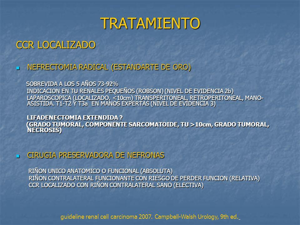 TRATAMIENTO CCR LOCALIZADO NEFRECTOMIA RADICAL (ESTANDARTE DE ORO)