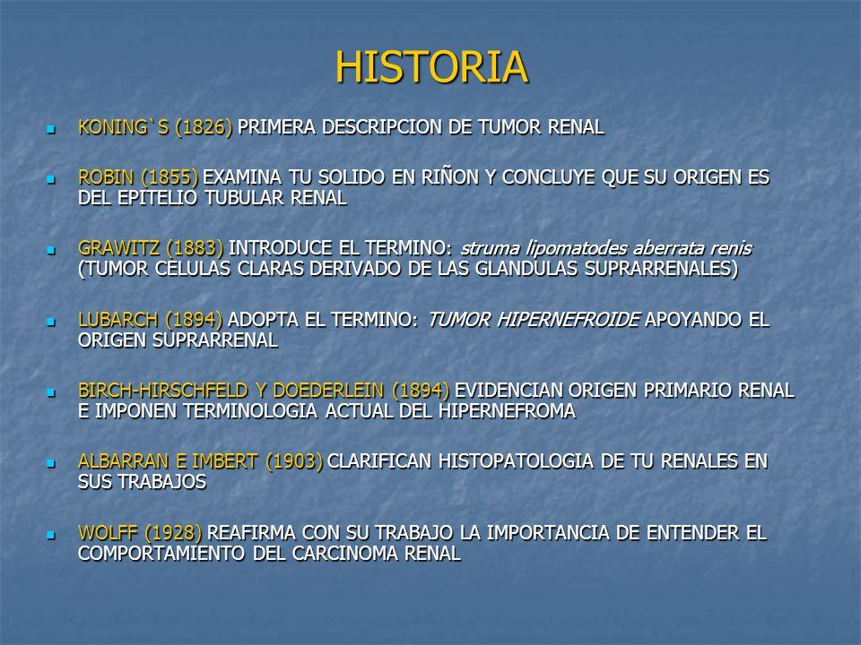 HISTORIA KONING`S (1826) PRIMERA DESCRIPCION DE TUMOR RENAL