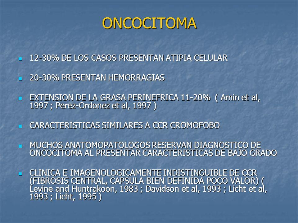 ONCOCITOMA 12-30% DE LOS CASOS PRESENTAN ATIPIA CELULAR