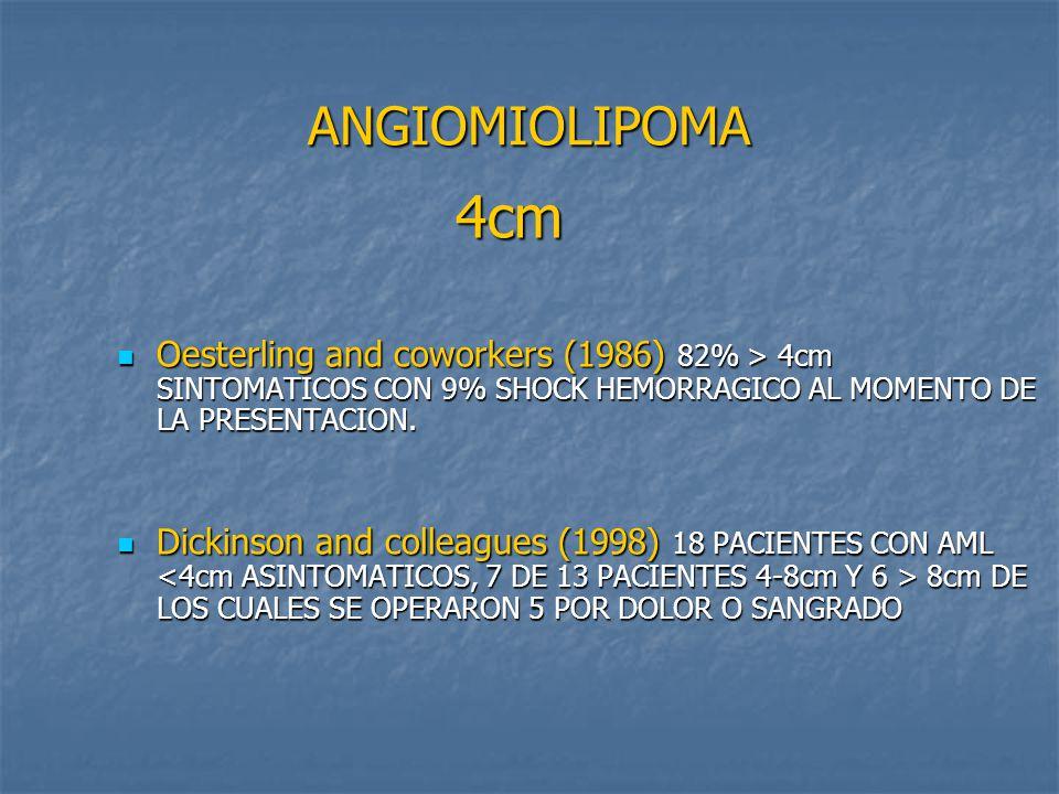 ANGIOMIOLIPOMA 4cm. Oesterling and coworkers (1986) 82% > 4cm SINTOMATICOS CON 9% SHOCK HEMORRAGICO AL MOMENTO DE LA PRESENTACION.