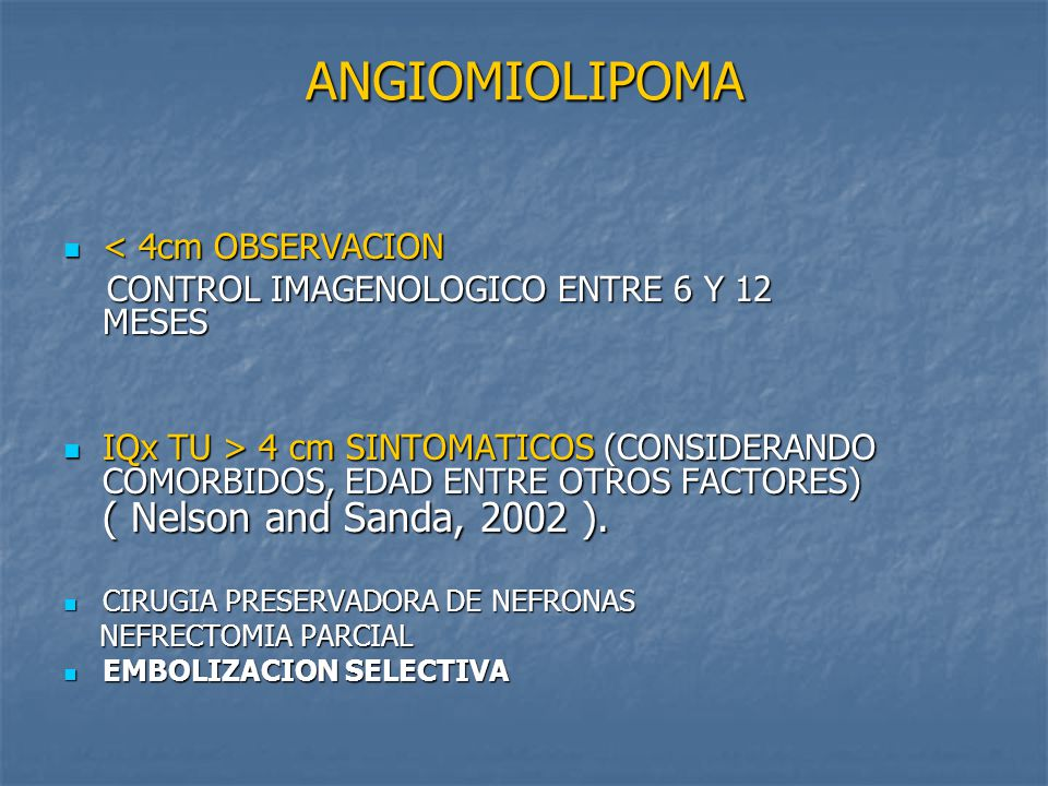 ANGIOMIOLIPOMA < 4cm OBSERVACION