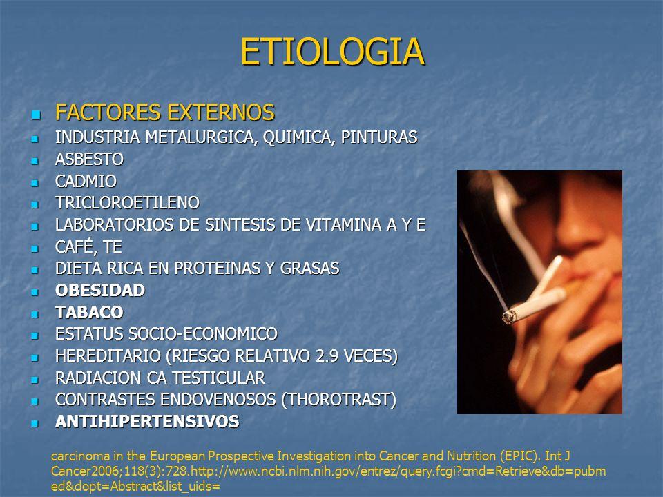 ETIOLOGIA FACTORES EXTERNOS INDUSTRIA METALURGICA, QUIMICA, PINTURAS