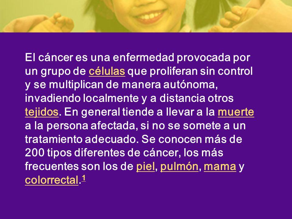 El cáncer es una enfermedad provocada por un grupo de células que proliferan sin control y se multiplican de manera autónoma, invadiendo localmente y a distancia otros tejidos.