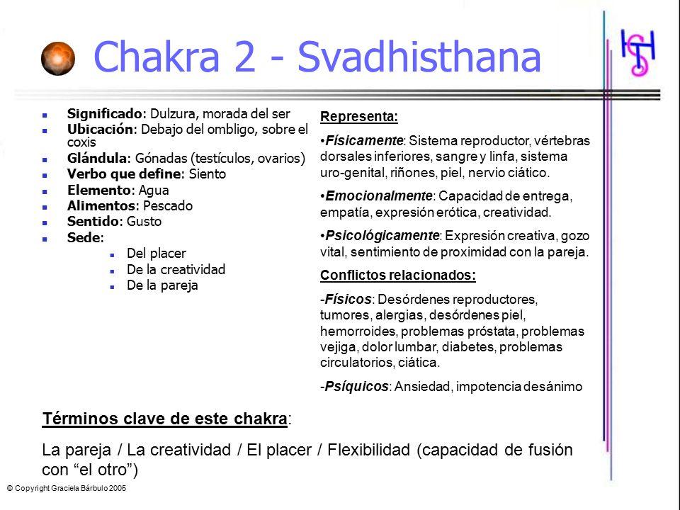 Chakra 2 - Svadhisthana Términos clave de este chakra: