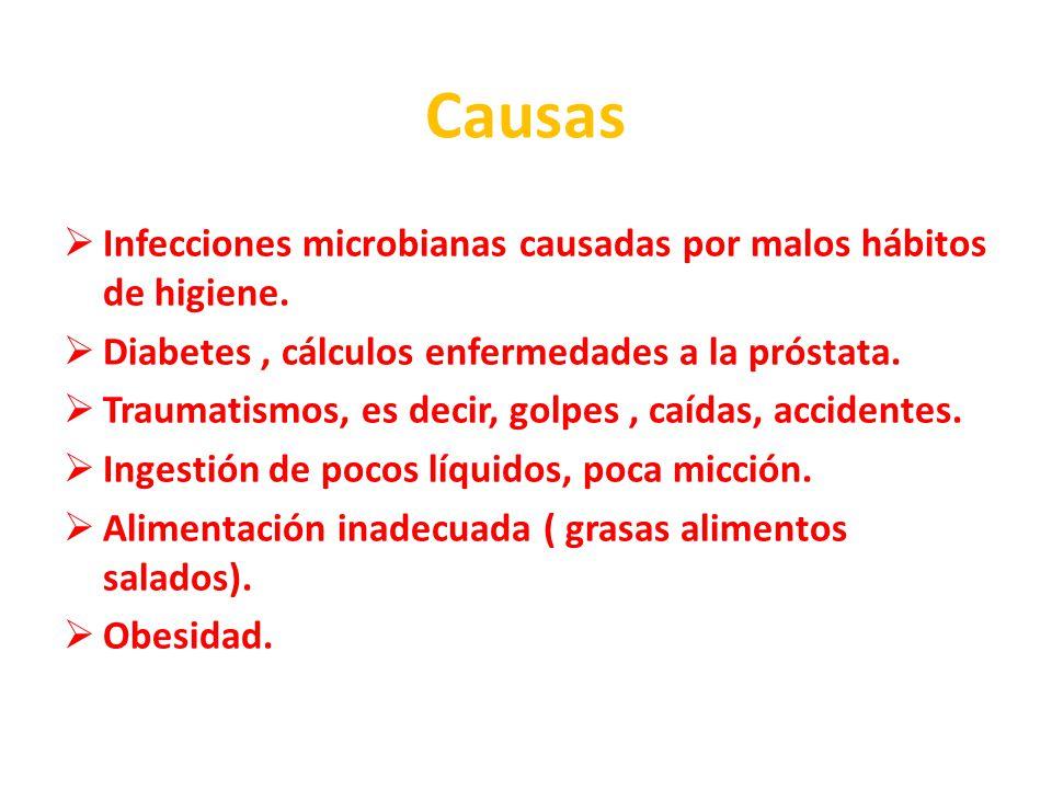 Causas Infecciones microbianas causadas por malos hábitos de higiene.