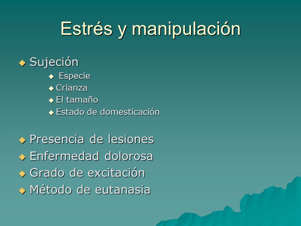 Estrés y manipulación Sujeción Presencia de lesiones