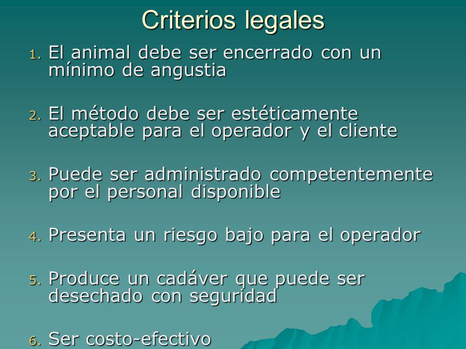 Criterios legales El animal debe ser encerrado con un mínimo de angustia. El método debe ser estéticamente aceptable para el operador y el cliente.