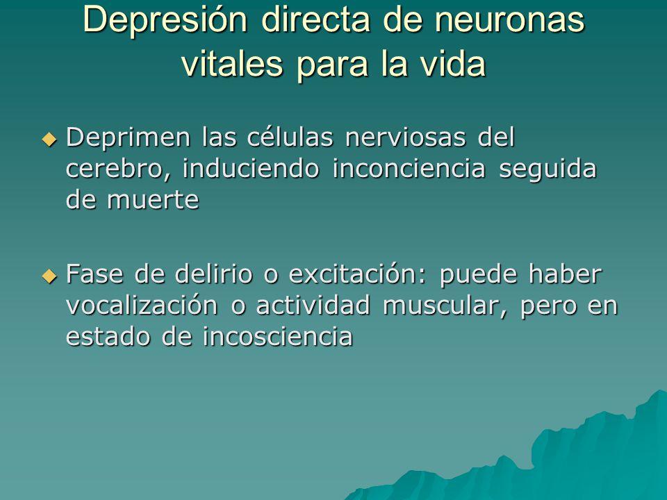 Depresión directa de neuronas vitales para la vida