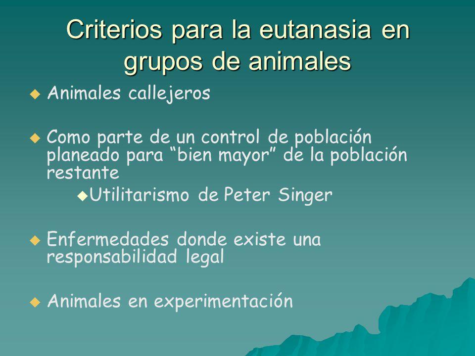 Criterios para la eutanasia en grupos de animales