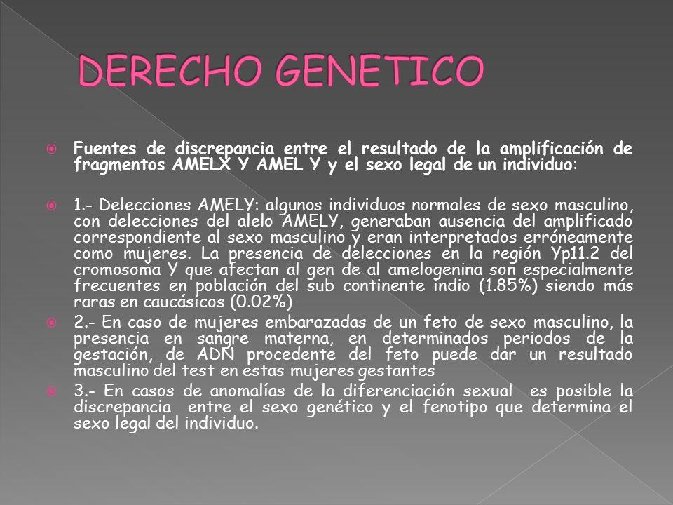 DERECHO GENETICO Fuentes de discrepancia entre el resultado de la amplificación de fragmentos AMELX Y AMEL Y y el sexo legal de un individuo: