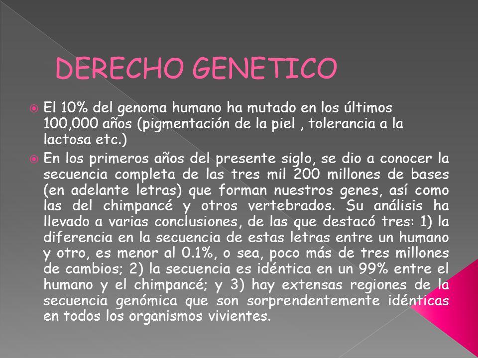 DERECHO GENETICO El 10% del genoma humano ha mutado en los últimos 100,000 años (pigmentación de la piel , tolerancia a la lactosa etc.)