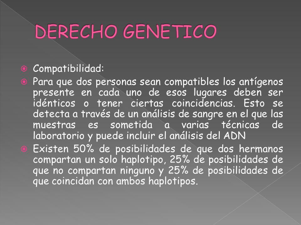 DERECHO GENETICO Compatibilidad: