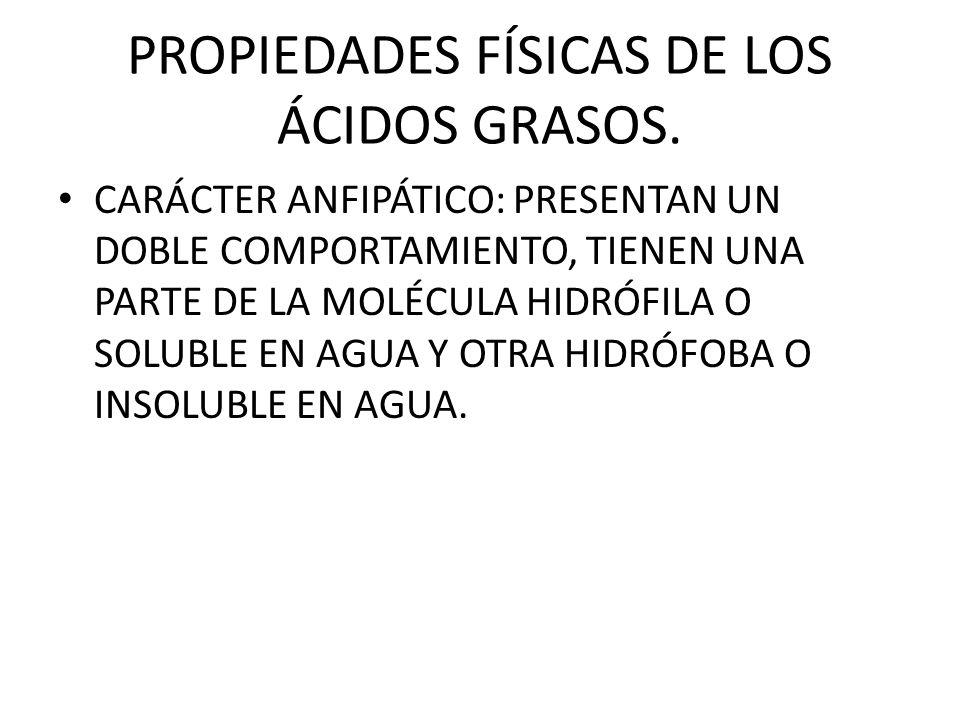 PROPIEDADES FÍSICAS DE LOS ÁCIDOS GRASOS.