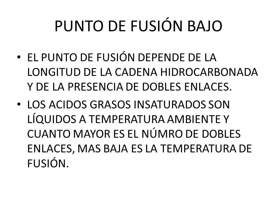 PUNTO DE FUSIÓN BAJO EL PUNTO DE FUSIÓN DEPENDE DE LA LONGITUD DE LA CADENA HIDROCARBONADA Y DE LA PRESENCIA DE DOBLES ENLACES.