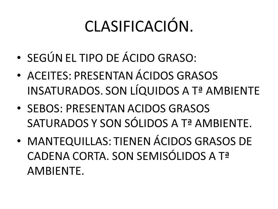 CLASIFICACIÓN. SEGÚN EL TIPO DE ÁCIDO GRASO: