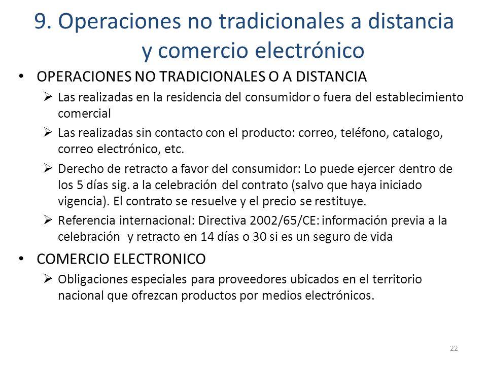 9. Operaciones no tradicionales a distancia y comercio electrónico