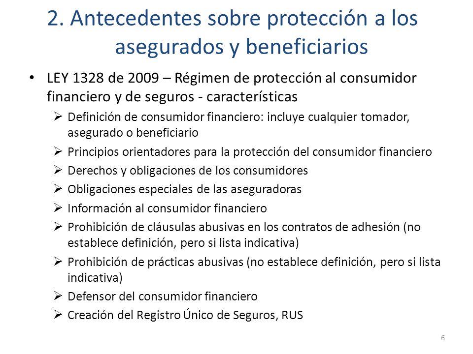 2. Antecedentes sobre protección a los asegurados y beneficiarios