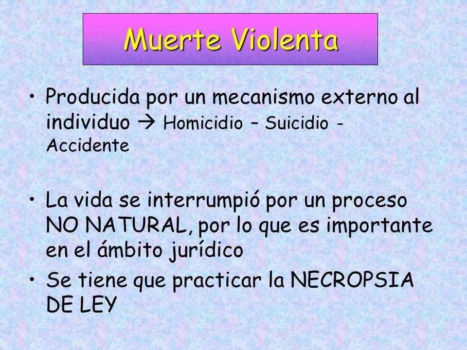 Muerte Violenta Producida por un mecanismo externo al individuo  Homicidio – Suicidio - Accidente.