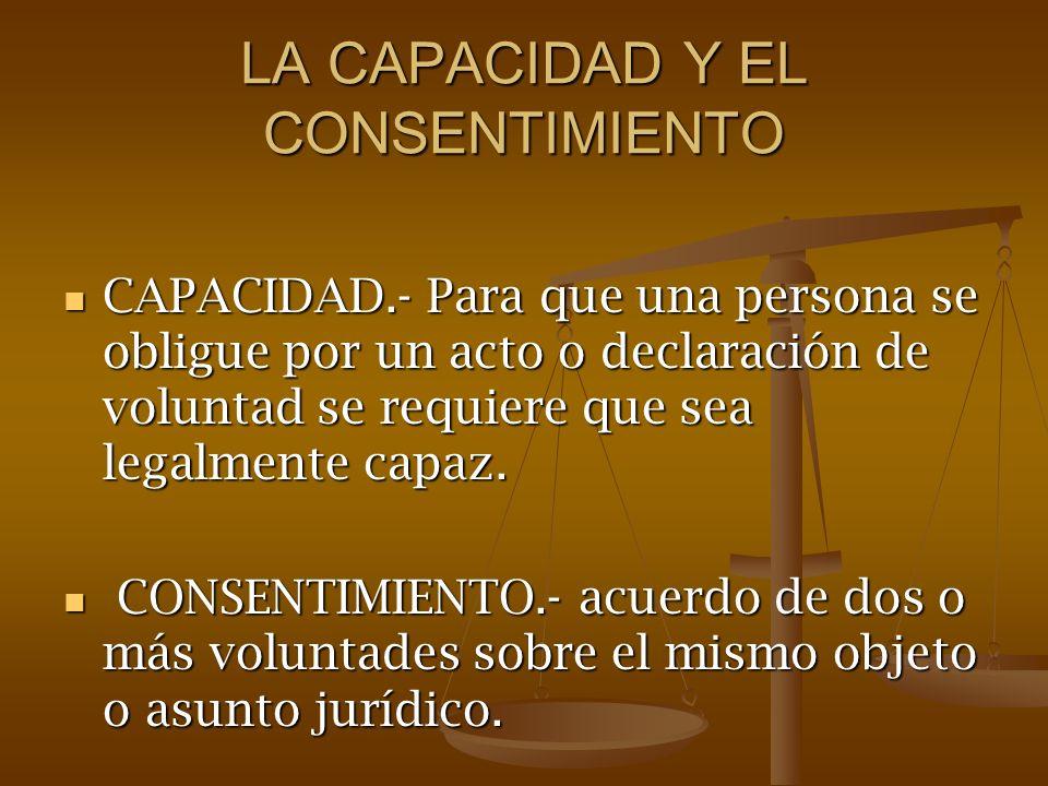 LA CAPACIDAD Y EL CONSENTIMIENTO