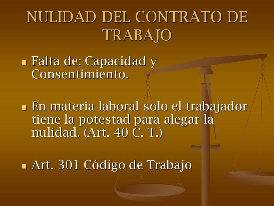 NULIDAD DEL CONTRATO DE TRABAJO