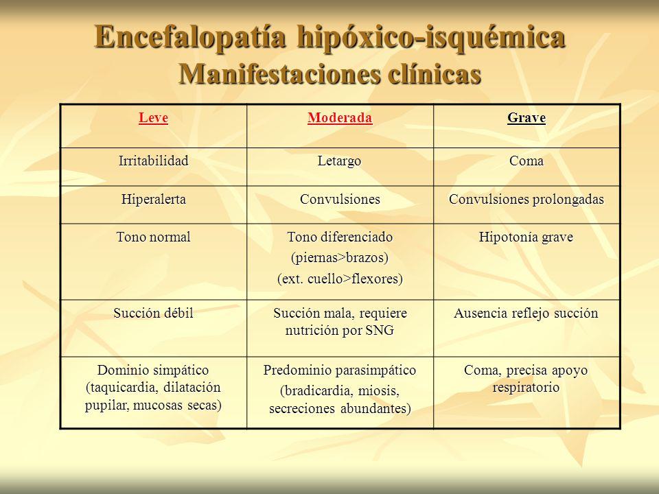 Encefalopatía hipóxico-isquémica Manifestaciones clínicas