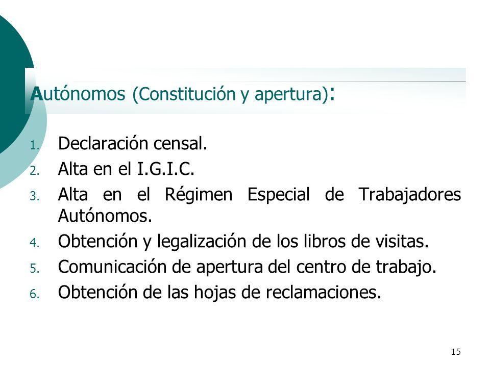 Autónomos (Constitución y apertura):