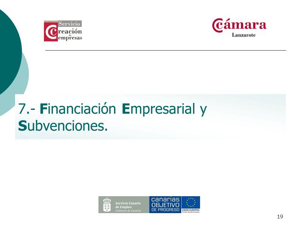 7.- Financiación Empresarial y Subvenciones.