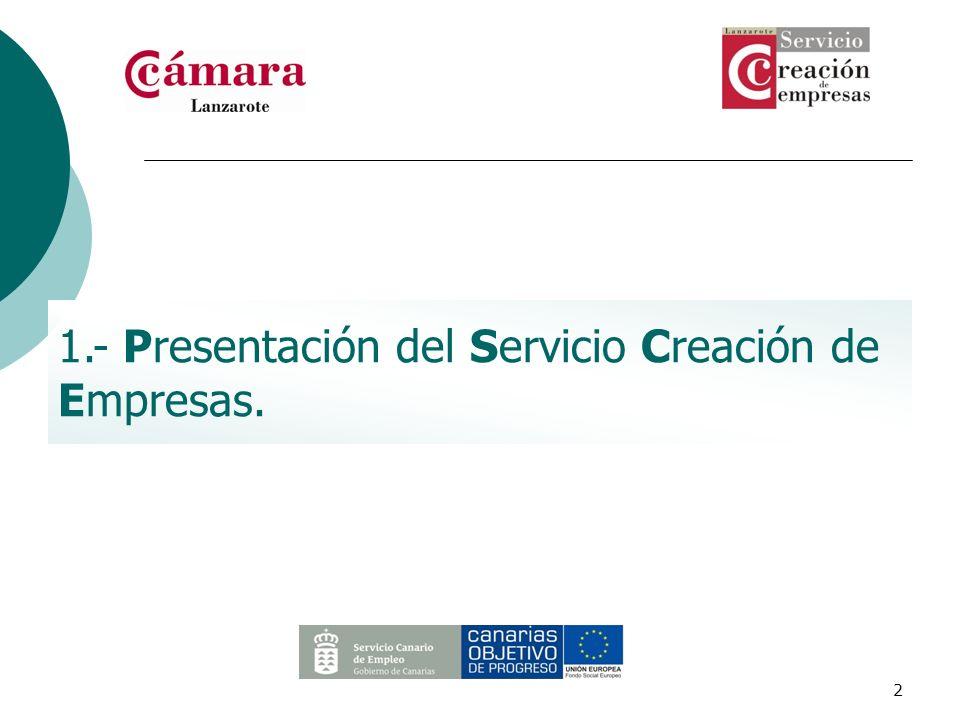 1.- Presentación del Servicio Creación de Empresas.