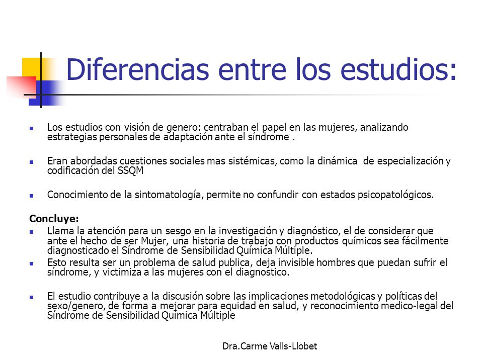 Diferencias entre los estudios: