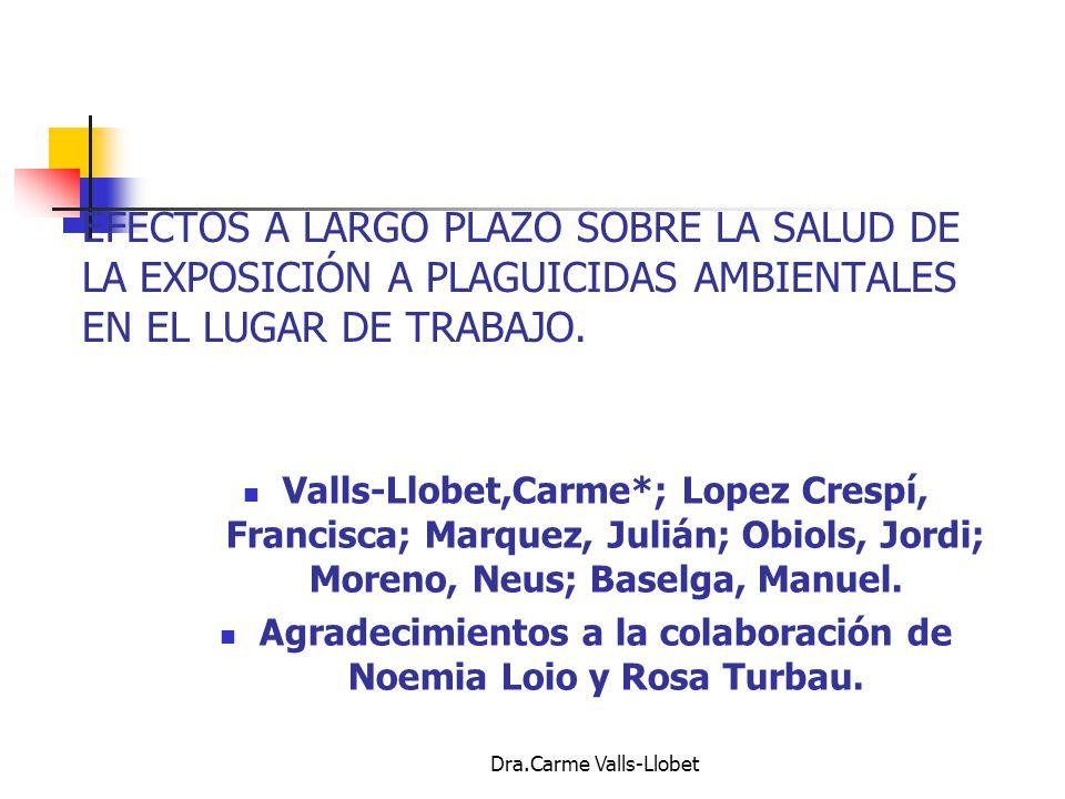 EFECTOS A LARGO PLAZO SOBRE LA SALUD DE LA EXPOSICIÓN A PLAGUICIDAS AMBIENTALES EN EL LUGAR DE TRABAJO.
