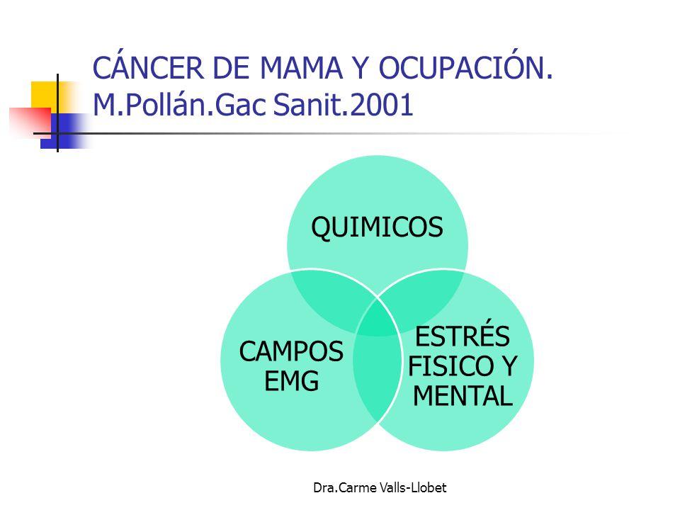 CÁNCER DE MAMA Y OCUPACIÓN. M.Pollán.Gac Sanit.2001